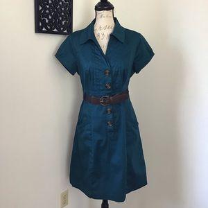 Amanda Lane- Teal Utilitarian Style Dress